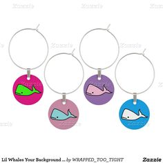 Lil Whales Your Background Color Wine Glass Charm