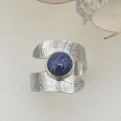 Bague, argent massif, pierre gemme, lapis lazuli bleu, style bohème, ref bgag24