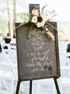 Pick a seat not a side wedding sign: http://www.stylemepretty.com/arizona-weddings/paradise-valley/2017/01/16/desert-sunset-wedding/ Photography: Rachel Solomon - http://rachel-solomon.com/
