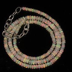 """33 Ctw 1Necklace 3to5mm 16"""" Beads Natural Genuine Ethiopian Welo Fire Opal 94914"""