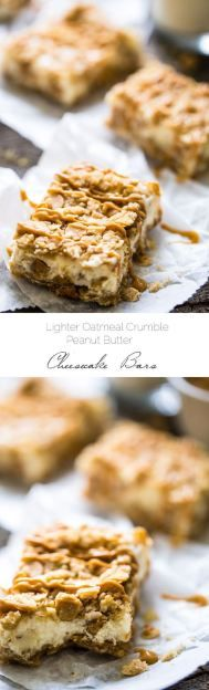Healthy Oatmeal Crumble Peanut Butter Cheesecake Bars recipe - SO easy to make and always a hit at gatherings!