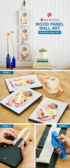 Father's Day Gift Create home decor inspired by Dad's pride and joy. This easy DIY gift is sure to melt his heart on his first Father's Day. Takes less than 10 minutes to build! Easy Diy Gifts, Homemade Gifts, Daddy Gifts, Gifts For Dad, Dad Presents, Baby Crafts, Crafts For Kids, Cadeau Parents, Daddy Day