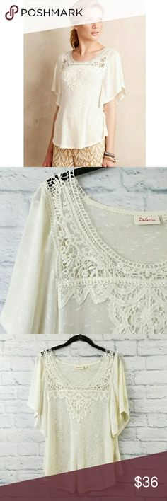 """Anthropologie White Point De Venise Top MED 🎉HOST PICK🎉  Anthropologie Deletta Women's White Point De Venise Top Lace Detail. Excellent Pre Worn.  Fabric is rayon blend, see pictures  Measurements are below, taken straight across with the Garment laying flat  Bust- 17"""" Length - 23"""" 0083123017rl5 Anthropologie Tops"""