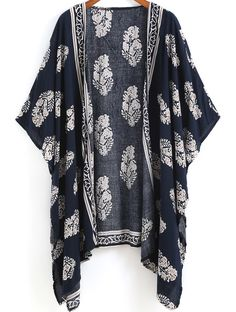 Online shopping for Navy Vintage Floral Loose Kimono from a great selection of women's fashion clothing & more at MakeMeChic.COM.