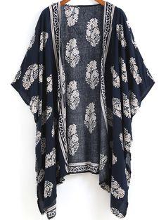 Kimono décontracté floral -bleu marine -French SheIn(Sheinside)