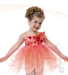 Curtain Call Costumes® - Peaches And Cream Peach nylon/spandex leotard with embroidered bodice overlay, binding and flower trim, and attached glimmer tulle and tricot baby doll skirt. INCLUDES: flower barrette. Troupe price: $65 AUD - $70 AUD
