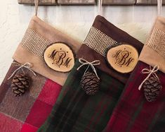 Stockings Christmas Personalized Wood Slice Name Tag Redwood Cone Rustic Woodland Christmas Plaid Flannel Christmas Stocking Woodland Christmas, Christmas Wood, Plaid Christmas, Christmas Crafts, Christmas Decorations, Family Christmas Stockings, Ticking Stripe, Wood Slices, Plaid Flannel