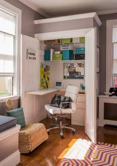 Stunning diy home office ideas full size of closet desk ideas combo small office design this Closet Desk, Closet Office, Office Nook, Desk Nook, Office Spaces, Work Spaces, Closet Drawers, Ikea Office, Diy Drawers