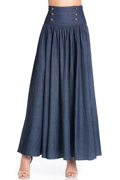 Full length sectioned a-line skirt withcenter back zipper closure and military button front detail. Admiral Skirt by TOV Holy. Clothing - Skirts - Maxi California