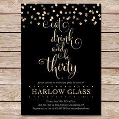 Modern black faux gold glitter sweet 16 invitations sweet 16 free birthday invitation templates basketball stopboris Images