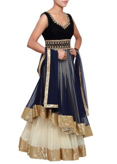 Navy blue anarkali suit featuring with under layer is enhanced in kundan embroidery only on Kalki