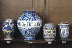 A Tuscan maiolica blue and white apothecary jar