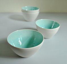 Aqua and White Porcelain Bowls