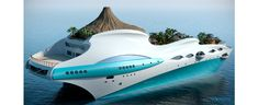Yacht Island Design Concepts | Themed Yacht Creators | Luxury Super Yacht Designers - Tropical Island Paradise - Rear 3/4 View.