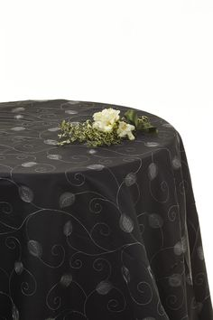 #Black and Silver leaf #tablecloth Available for hire www.decorit.com.au #linen #hire #melbourne