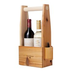 Wooden Wine Tote with Corkscrew | Wine Carrier, Vino, picnic | UncommonGoods