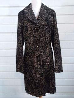 Rampage Womens  Size L Corduroy Paisley Long Coat Jacket Button Front Large  #Rampage #BasicCoatJacketTrench #BusinessCasualOutdoor