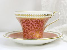Vintage #Aynsley Corset Shaped Pink and Gold Chintz Tea Cup - Teacup and Saucer 12558 by TheVintageTeacup on Etsy