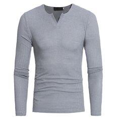 Otoño Invierno de los hombres de ocio V-cuello Stripe T-shirts Breve estilo de punto de manga larga Tops