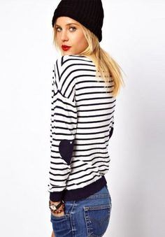 Striped Heart Elbow Patch Sweater//