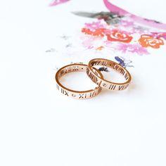 Roman Numerals Ring 18K Rose Gold Diamond Band by SinDoreiJewel