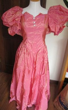 Vintage 80's Prom Dress Gown Pink Puffy Sleeves Bow