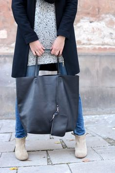 Oversized Black Leather Tote Bag, Leather Tote, Shopper Bag, Silky Italian leather