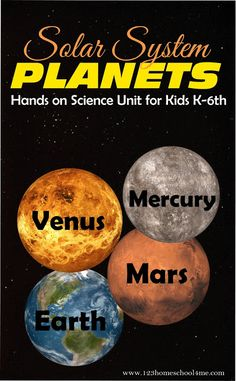 Inner Planets Hands on Science Unit for Kids Grade! Lots of fun ideas for kids learning about the 4 inner planets - mercury, venus, mars, and earth. Includes free solar system worksheets for elementary age kids Space Solar System, Solar System Planets, Space Systems, Science Fair Projects, Science Experiments Kids, Science For Kids, Science Lessons, Biology Projects, Manualidades
