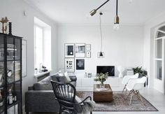 Relax and retreat into a cool, calm Scandinavian oasis with a unique style that embraces minimalism but challenges serenity with flair Small Apartment Decorating, Apartment Interior Design, Home Interior, Interior Decorating, Scandinavian Apartment, Scandinavian Home, Living Room Furniture, Living Room Decor, Living Spaces