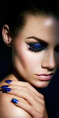 Blue Beauty with false eyelashes. A strip of #FalseLashes can make all the difference with either simple #eyemakeup or solid one color #makeup.