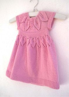 Lace Knitting, Baby Knitting Patterns, Knitting Designs, Baby Patterns, Knitting Stitches, Girls Knitted Dress, Knit Baby Dress, Baby Cardigan, Knitting For Kids