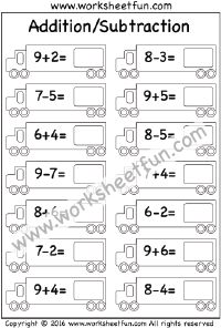 Addition and Subtraction – 2 Worksheets Subtraction Kindergarten, Addition And Subtraction Worksheets, Kindergarten Math Worksheets, Kindergarten Addition, Math Practice Worksheets, 1st Grade Worksheets, Free Printable Worksheets, Preschool Learning Activities, Free Math