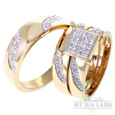 Diamond Micro-pave Trio Wedding Set Rings in 10K Solid Yellow Gold(0.40ctw) : This micro pave wedding ring set is of excellent quality workmanship Made in the USA in solid 10k gold and set with Natural genuine Diamonds. Each of these cannot be bought separately.