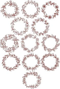 wreaths of flowers redwork embroidery patterns | images of advanced embroidery designs redwork flower wreath set ...