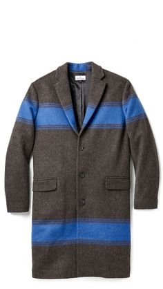 """Hentsch Man """"Crombie"""" blue and neutral coat"""