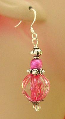 Pretty in Pink Silver Earrings Handmade