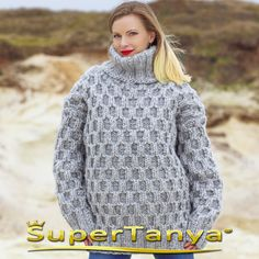 supertanya-mohair-sweaters:  Mega thick and heavy hand knitted mohair wool sweater in gray, cable knit soft wolle pullover by SuperTanya