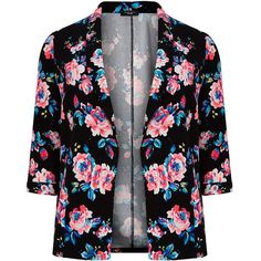 Plus Size Black Floral Print Blazer ($38) found on Polyvore featuring outerwear, jackets, blazers, long sleeve blazer, plus size jackets, open front jacket, plus size black jacket and floral jacket