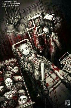 Horror anime yandere, dark alice in wonderland, creepy stuff, scary, random stuff Dark Anime, M Anime, Anime Art, Arte Horror, Horror Art, Creepy Art, Scary, Creepy Stuff, Random Stuff