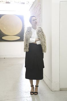 Shearling Vest over white Pablo shirt with Long Hester Skirt by Caron Callahan