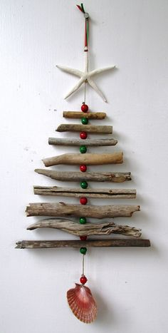Christmas Driftwood & Bead Mobile Rustic Christmas Beach Home Decor