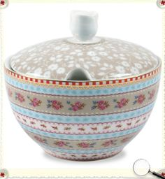 Love Pip Home colorful homeware - I need this sugar bowl for the matching creamer I got in Paris! http://www.pipstudio.com/en/floral-porcelain/coffee-tea/pip-sugar-bowl