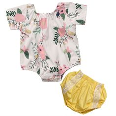 >> Click to Buy << 2017 Floral Baby Girl Clothes Set Summer Short Sleeve Romper Bodysuit Tops+ Bloomers Shorts 2PCS Outfit Bebek Giyim Clothing Set #Affiliate