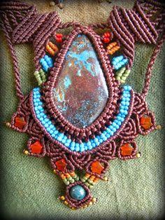 母なる大地の石クリソコラのハンドメイド手編みネックレス/クリソコーラ*マクラメ*パワーストーン - Tuwa Earth Crafts