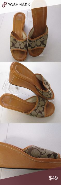 """Coach Charma DO2 Canvas Logo Sandals 8 B Great looking authentic sandals from Coach in size 8B  Style- CharmaDO2  Brown and khaki  Canvas  with Coach C's and leather inner lining and outers  3"""" heels  Very good condition Coach Shoes Sandals"""