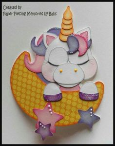 Sleeping Unicorn Premade Paper Piecing Embellishment Die Cut by Babs Crafts To Sell, Diy And Crafts, Crafts For Kids, Paper Crafts, Kids Cards, Baby Cards, Kids Punch, Punch Art Cards, Little Poney