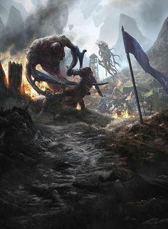 Gruesome Slaughter by Aleksi Briclot Alien Concept Art, Fantasy Concept Art, Dark Fantasy Art, Fantasy Artwork, Dark Art, Fantasy Monster, Monster Art, Dark Souls, Eldritch Horror