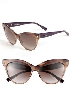 an modern update of the season's shade silhouette: Dior Cat's Eye Sunglasses in Brown Stripe