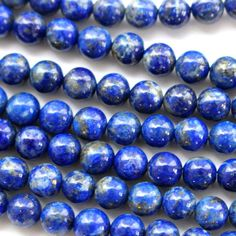 Natural Color Genuine Blue Lapis Lazuli Real Gemstone Loose Beads for Necklace Jewelry Making (round 6mm)