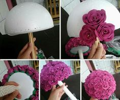 Create Your Own Egg Shaped Easter Topiary to Display Diy Wedding Flowers, Diy Wedding Decorations, Diy Flowers, Wedding Centerpieces, Wedding Bouquets, Fake Flowers, Floral Bouquets, Flower Decorations, Paper Flowers Craft